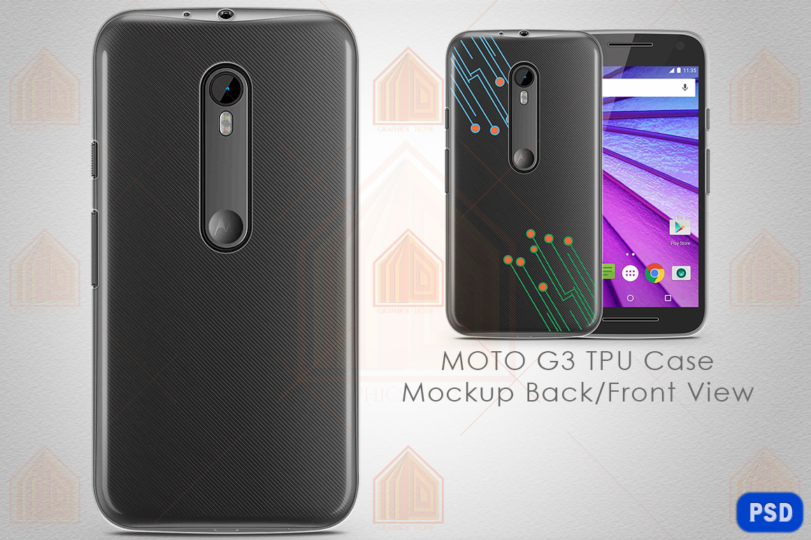 MOTO G3 TPU Case Mockup Back-Front View example image 1