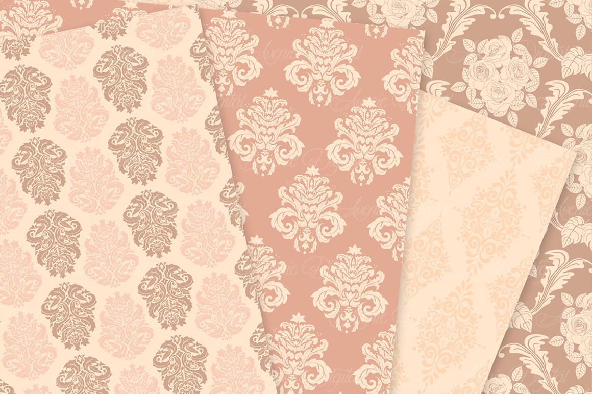28 Nude Damask Patterns - Wedding Seamless Digital Papers Bundle example image 4
