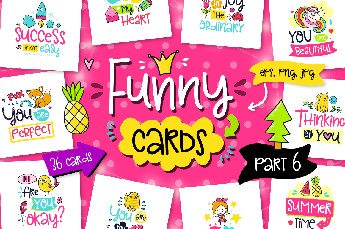 36 Funny Color Cards with Quote example image 1