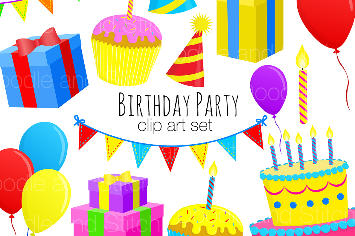 Birthday Party Clipart Illustrations example image 1