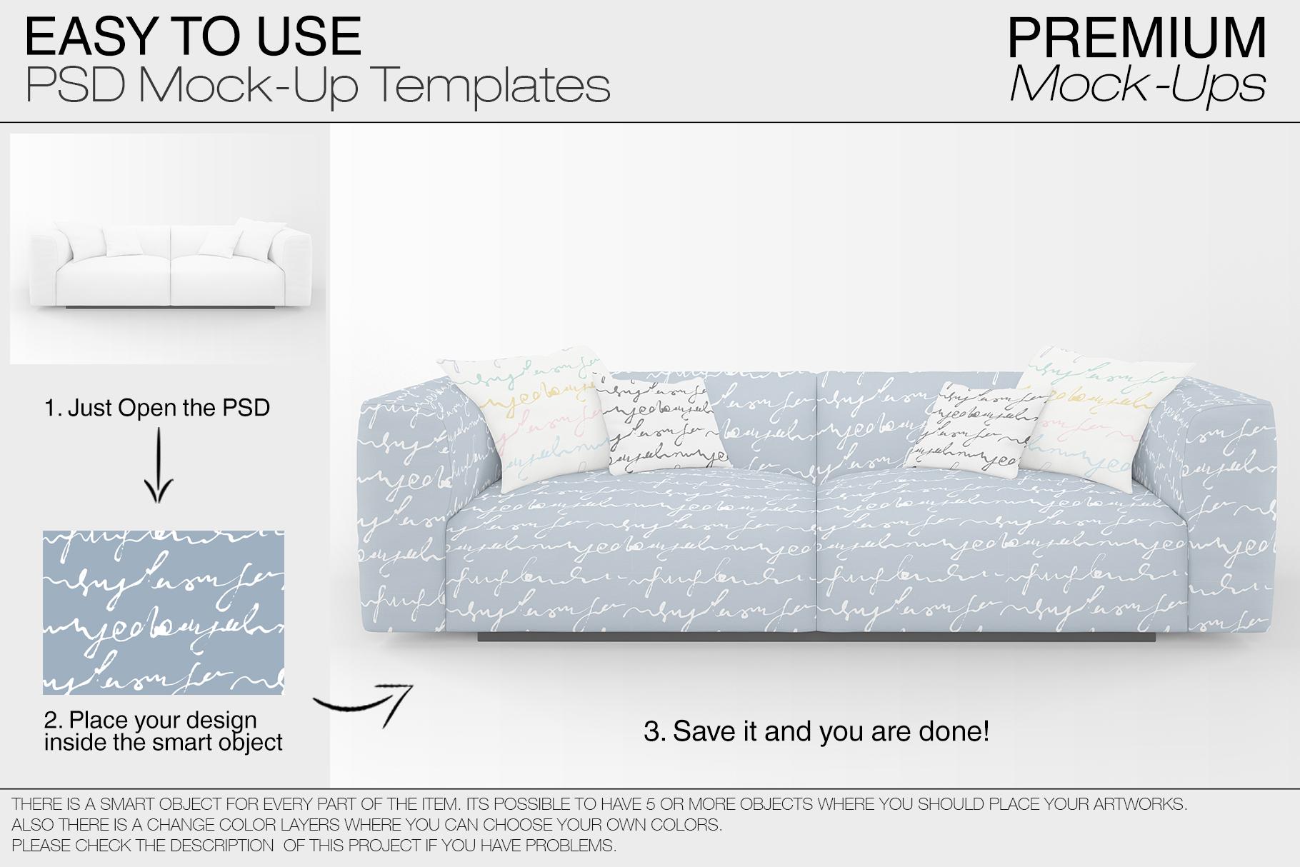 Sofa & Pillows Mockup Pack example image 3