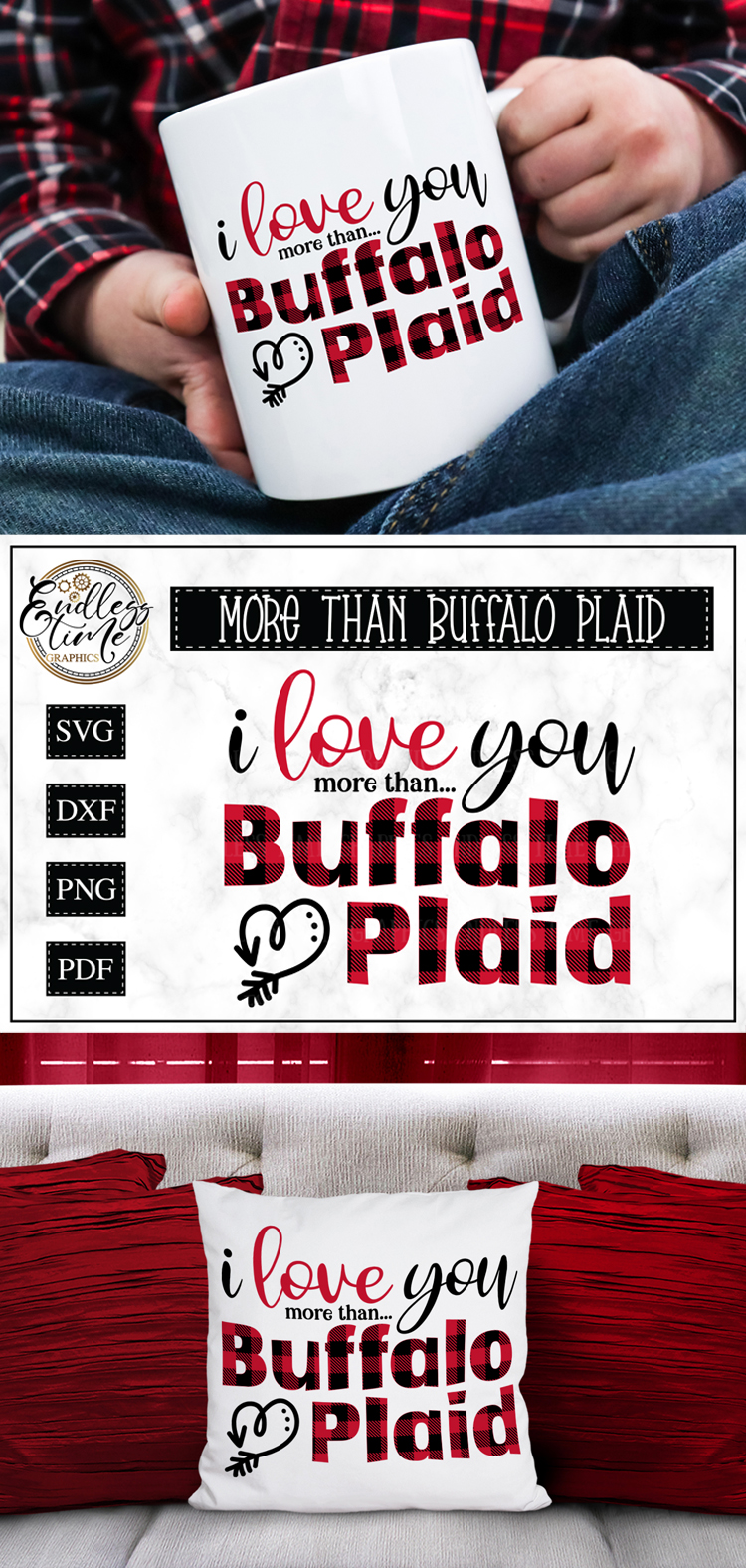 I Love You More than Buffalo Plaid - A Valentine's Day SVG example image 5
