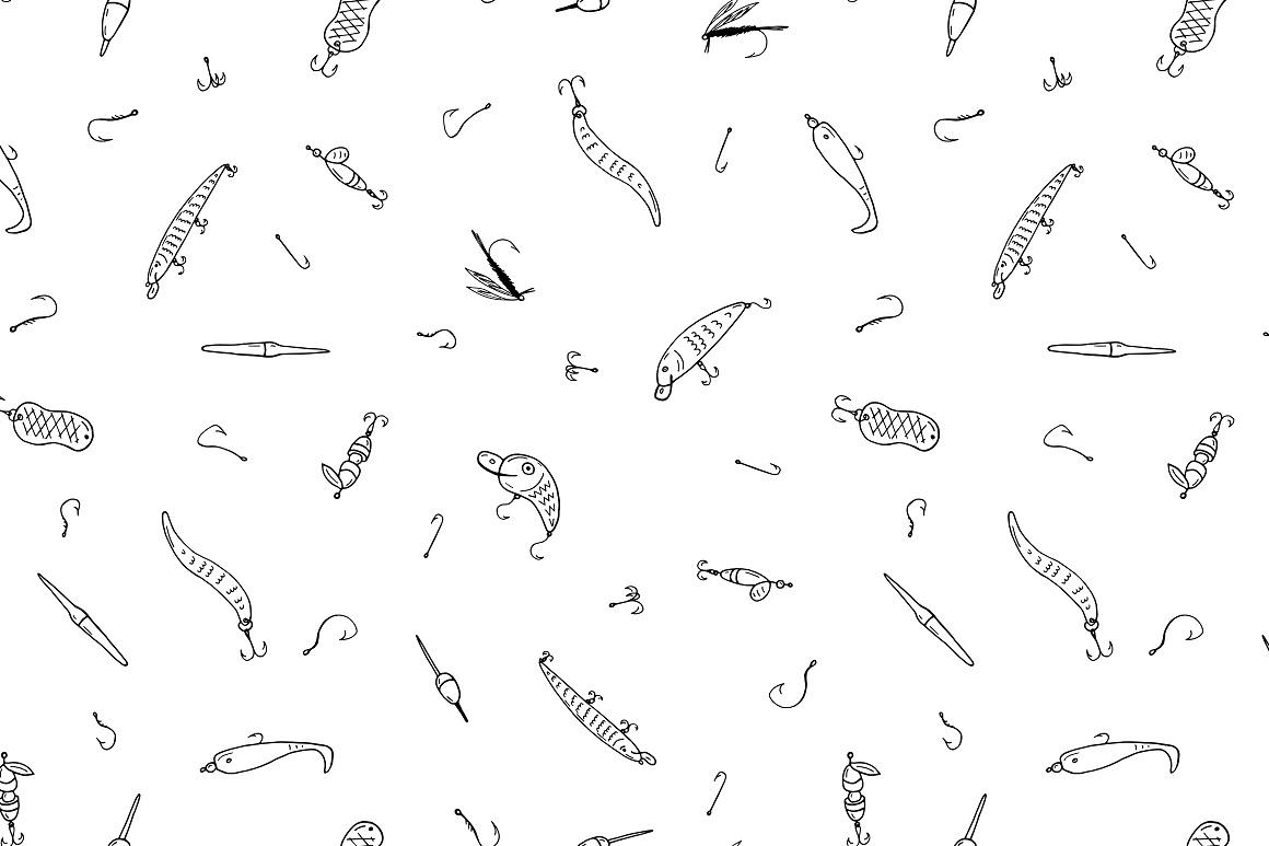 Fishing doodle set+seamless patterns example image 8