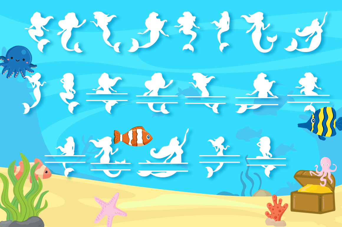 Mermaid Alphabet and Split Letters SVG Cut Files Pack example image 6