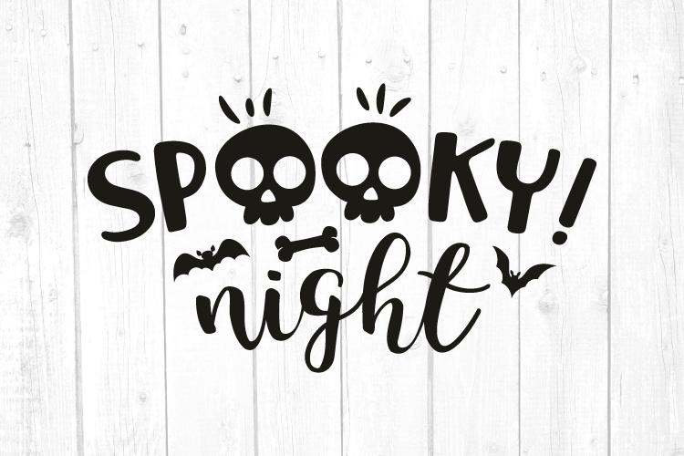 Spooky Night Svg, Halloween Svg, Skull Svg, Home Decor example image 1