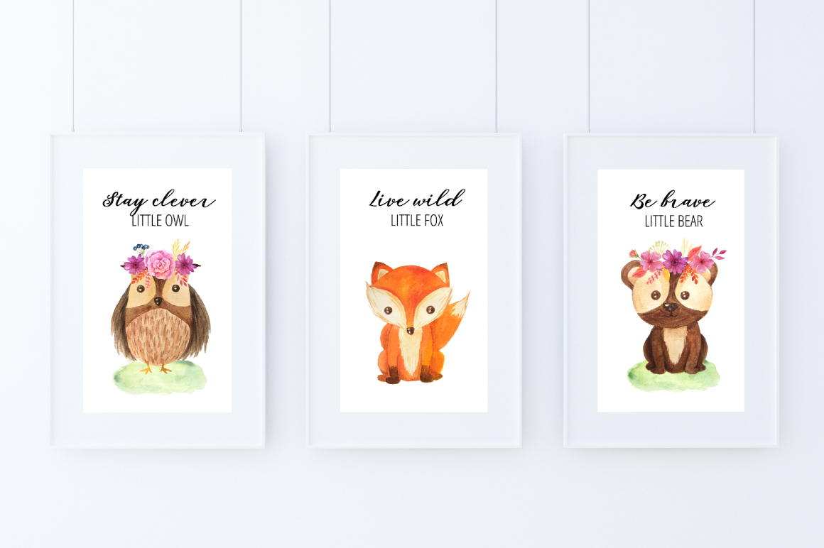 Watercolor Forest Animals Set example image 5