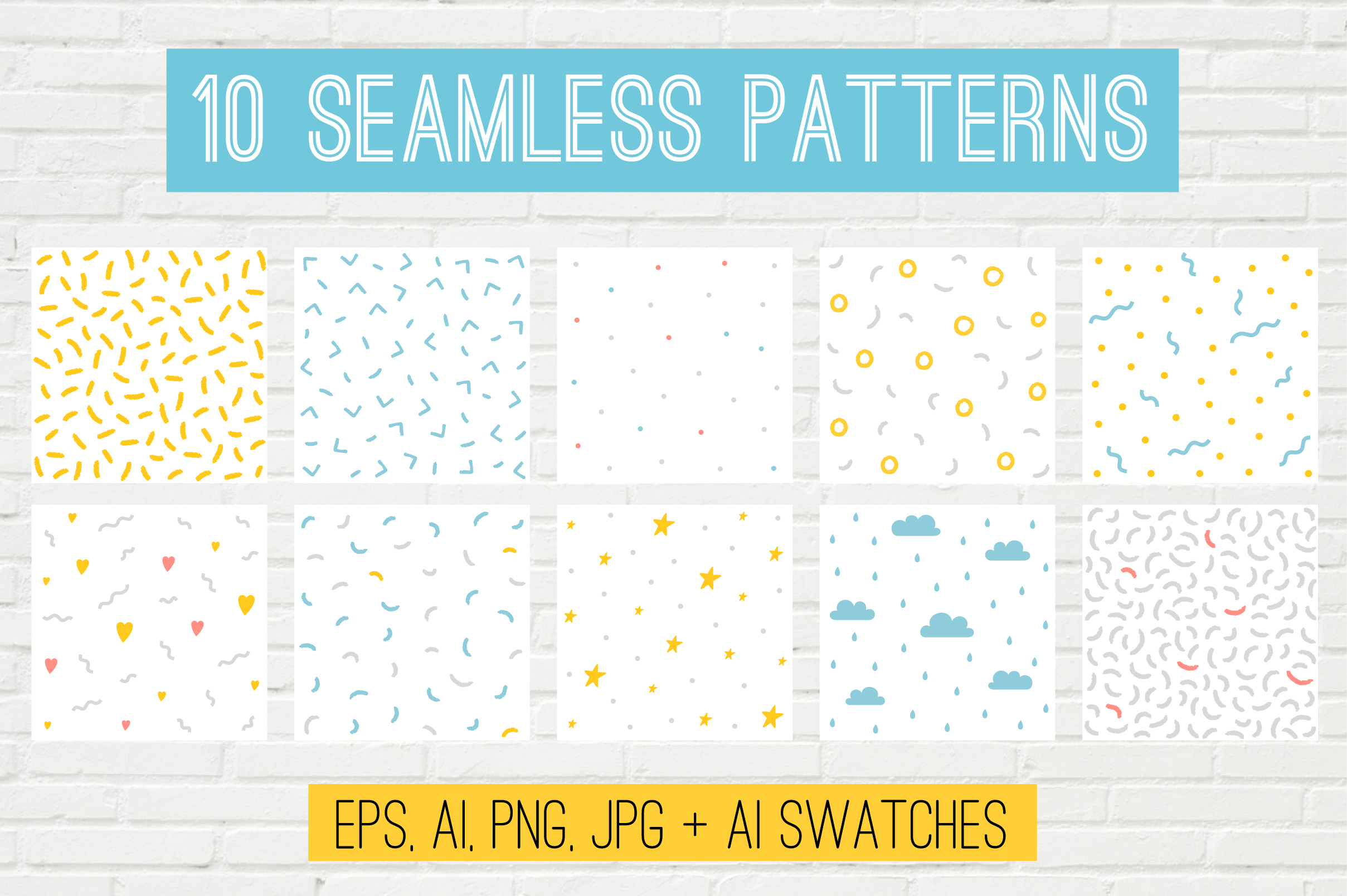 10 Vector Seamless Patterns example image 1
