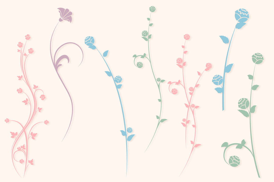 Floral Silhouettes SVG Cut Files Pack with 35 Items example image 5