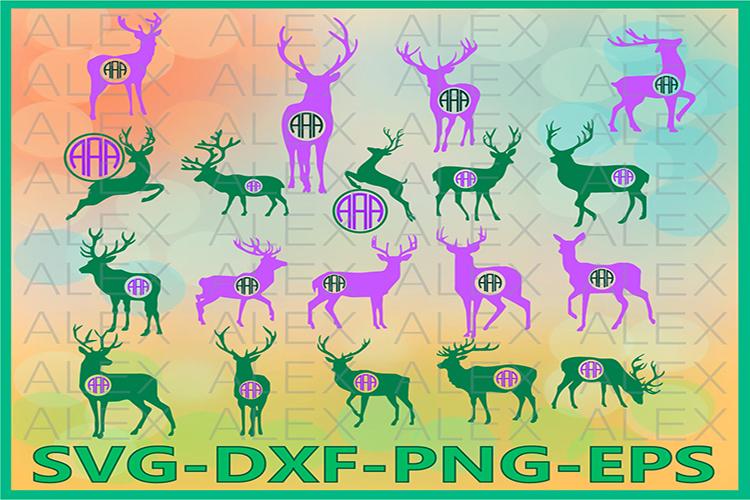 Deer Monogram SVG, Deer Monogram Svg, Deer png example image 1