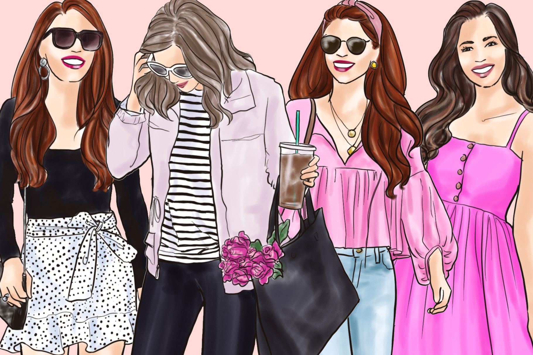 Fashion illustration clipart - Girls in Black & Pink - Light example image 3