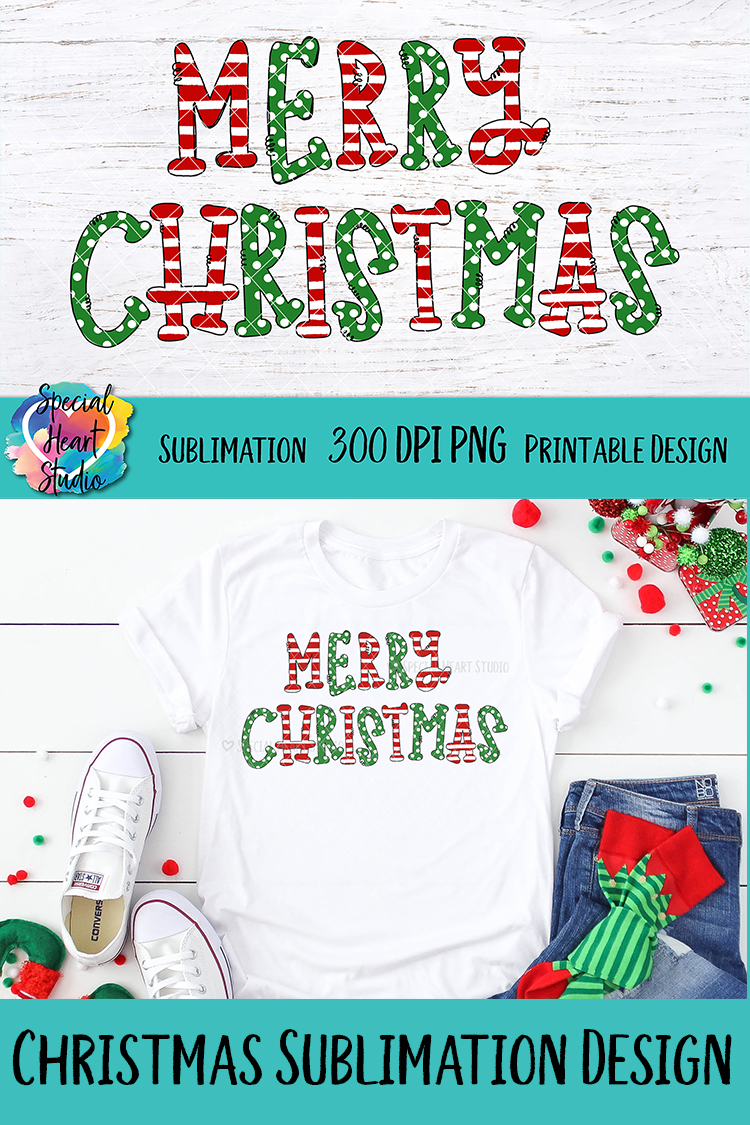 Merry Christmas - Sublimation - Hand Lettered Christmas PNG example image 4