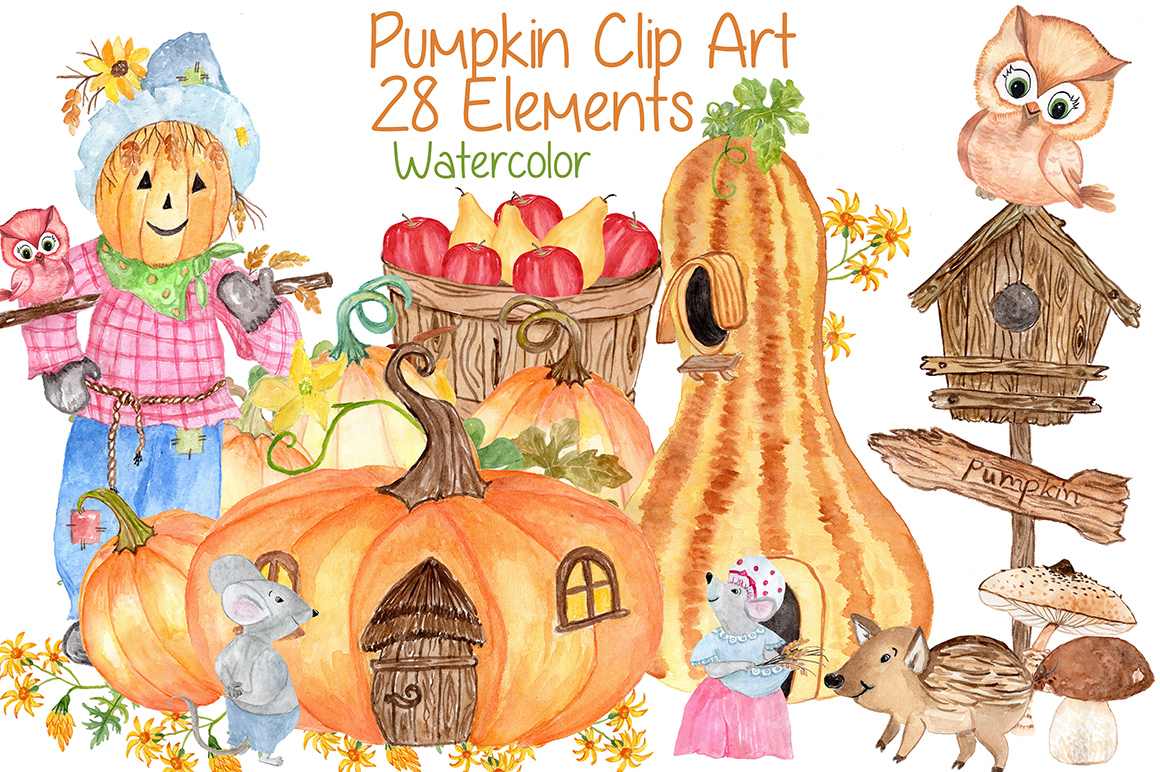 Watercolor pumpkin clipart example image 1