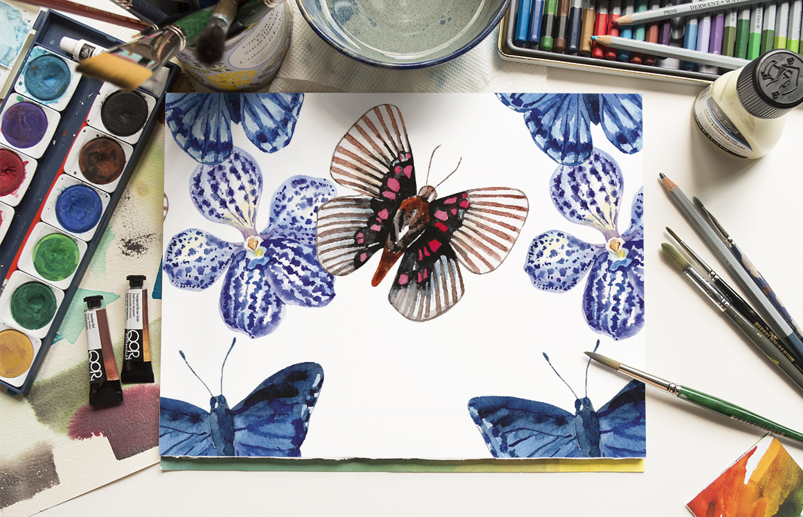 Butterfly watercolor hand drawn illustration digital paper. example image 2