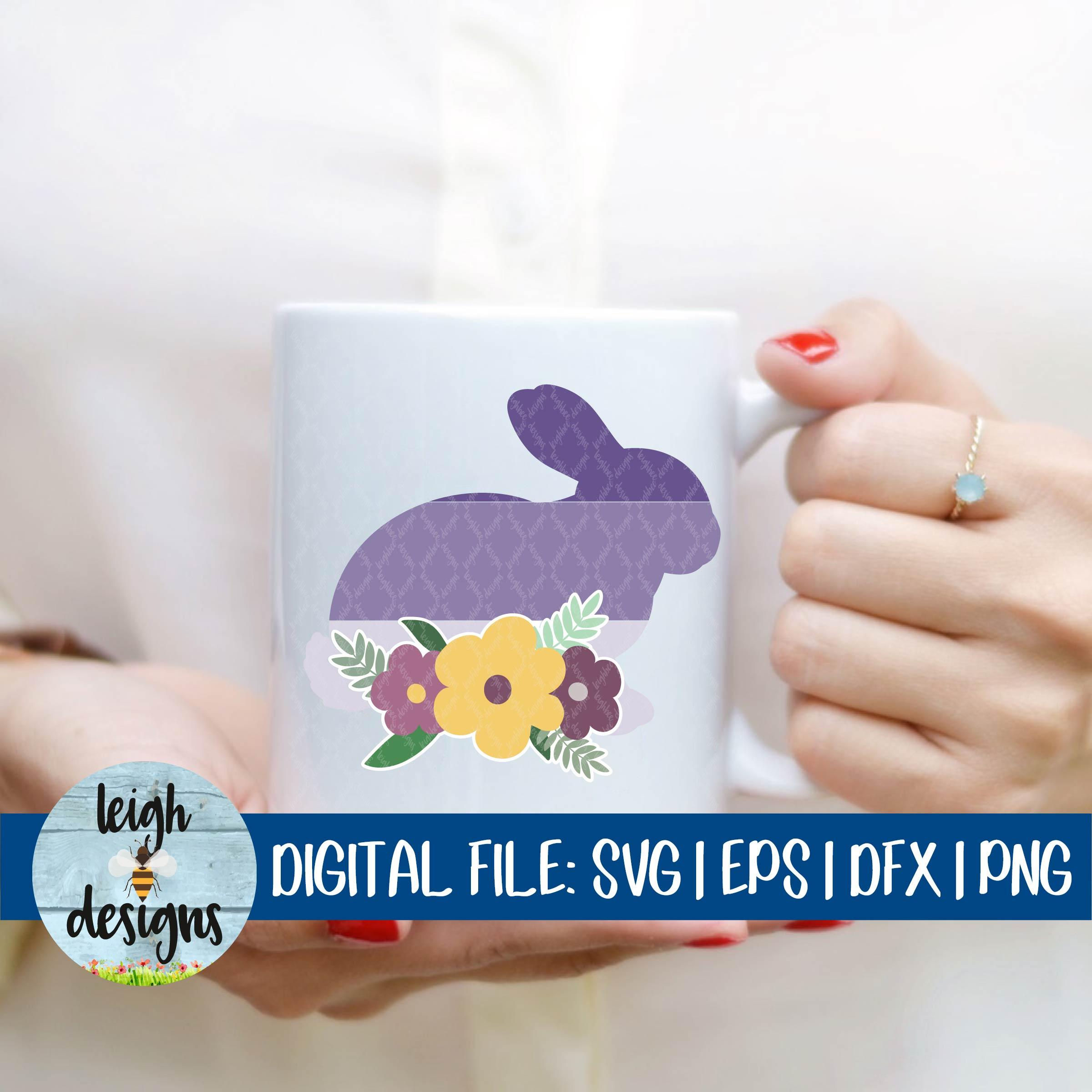 Ombre Bunny with Flower Swag SVG EPS DFX PNG Cut File example image 3