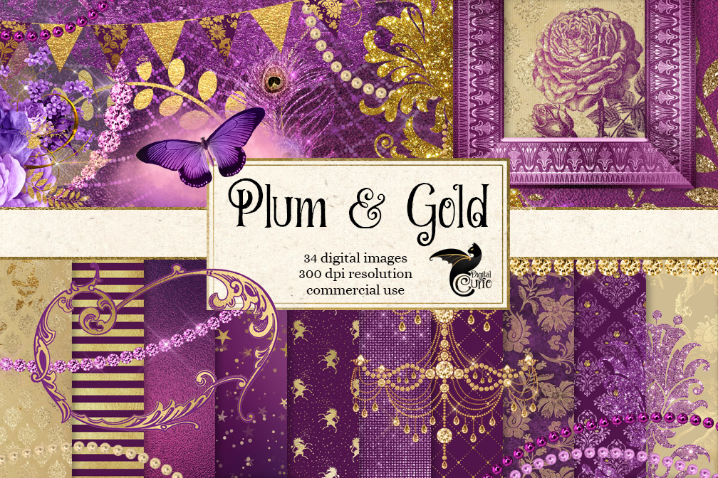 Plum and Gold Digital Scrapbooking Kit example image 1