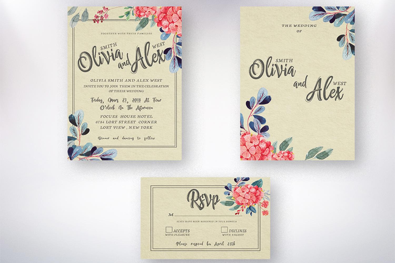Watercolor flower Wedding invitation set example image 5