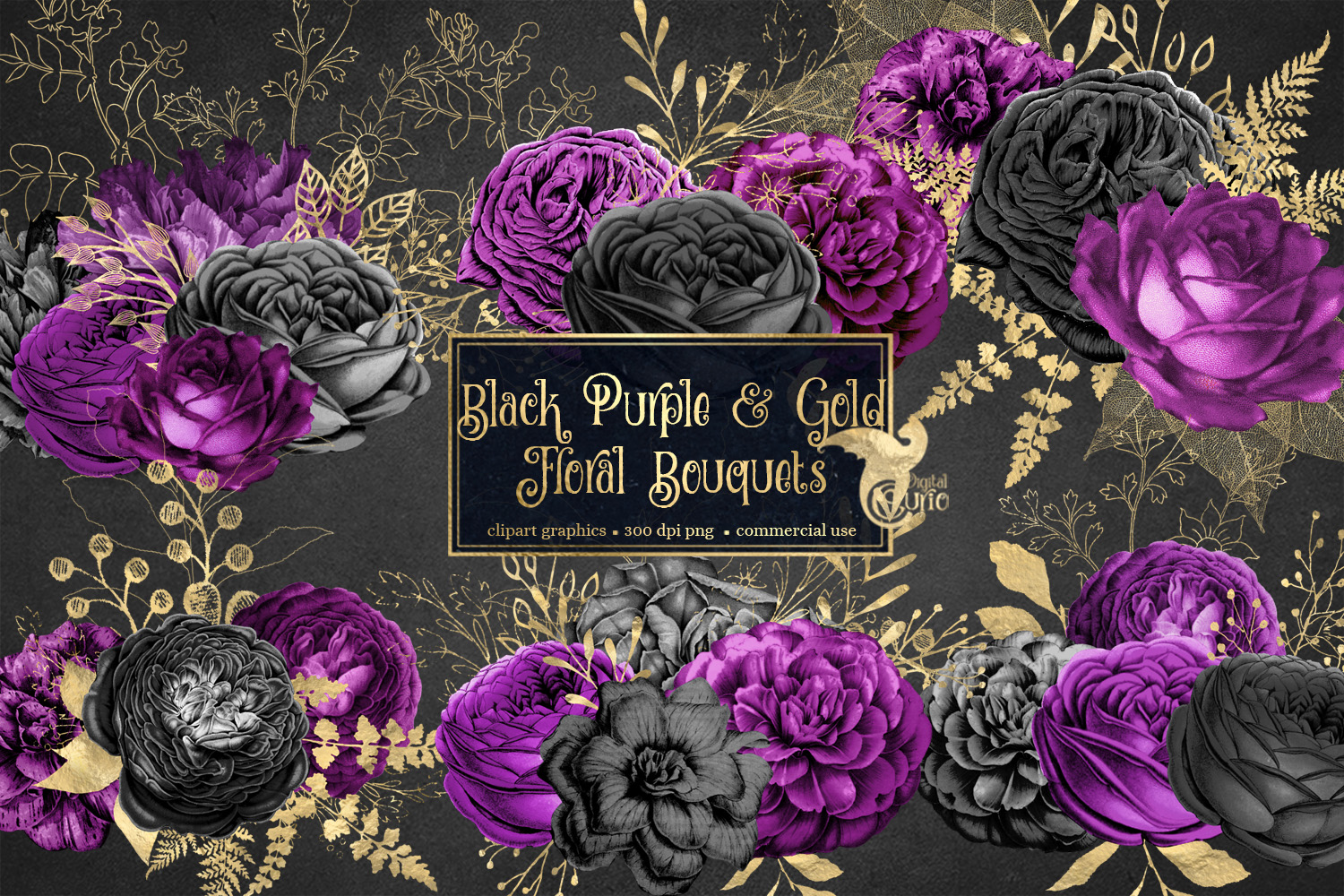 Black Purple and Gold Floral Clipart example image 1