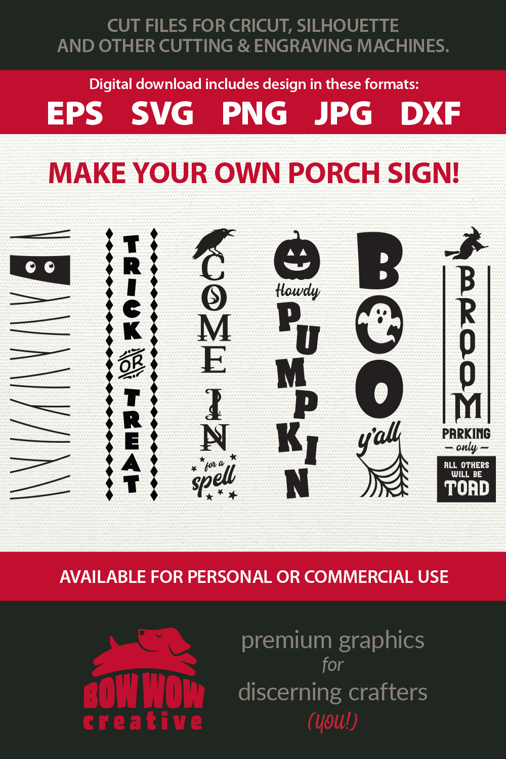 Halloween / Fall porch sign bundle - SVG, EPS, JPG, PNG, DXF example image 3