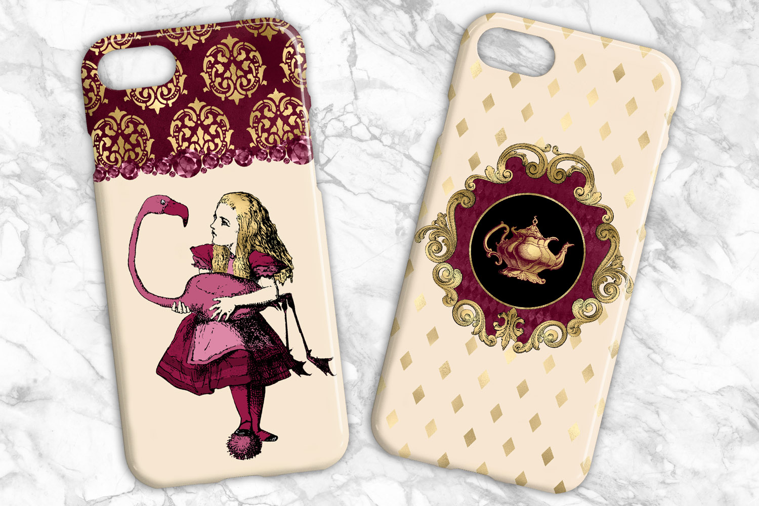 Burgundy and Gold Alice in Wonderland Graphics example image 5