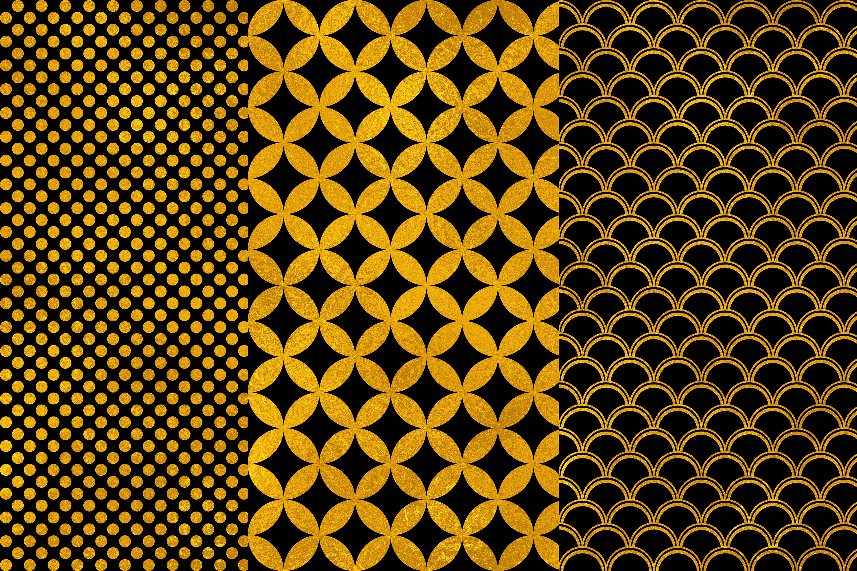 Black Gold Digital Papers, Gold Geometric Seamless Patterns example image 2