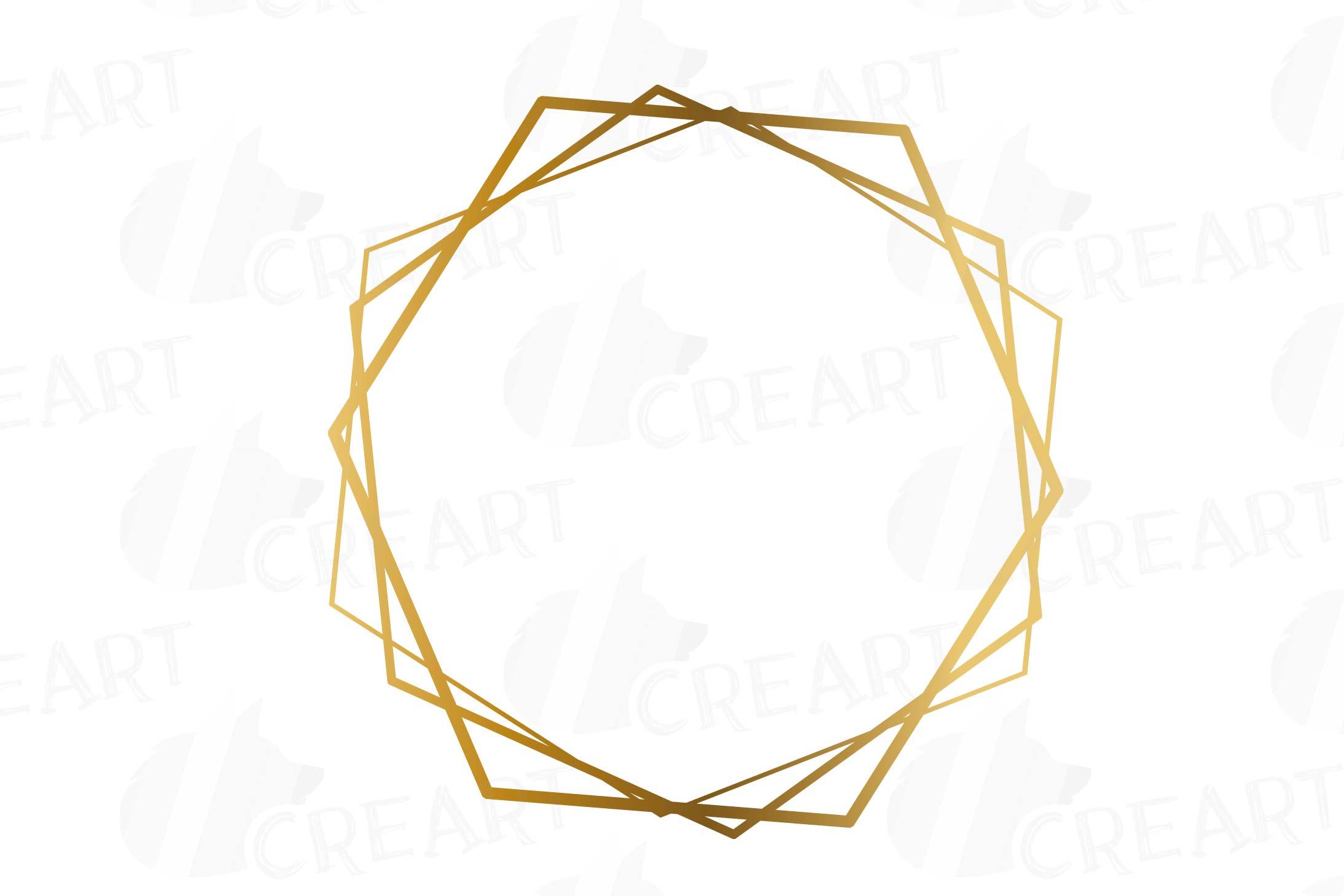 Elegant wedding geometric golden frames, lineal frames png example image 7