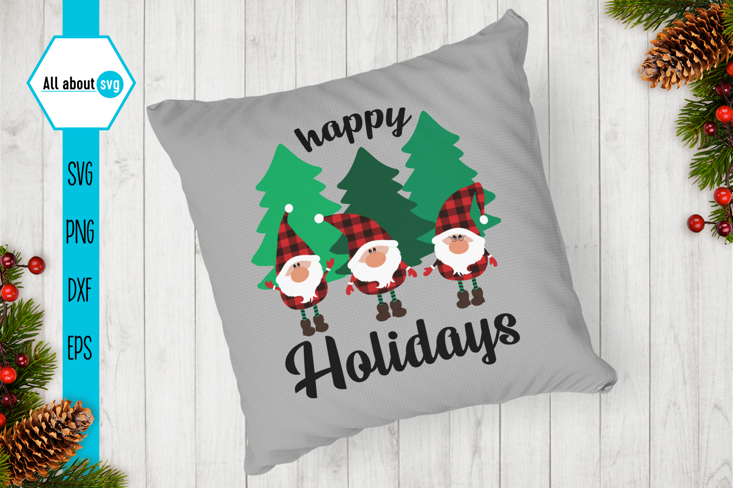 Happy Holidays Svg, Gnomies Buffalo Plaid Svg example image 5