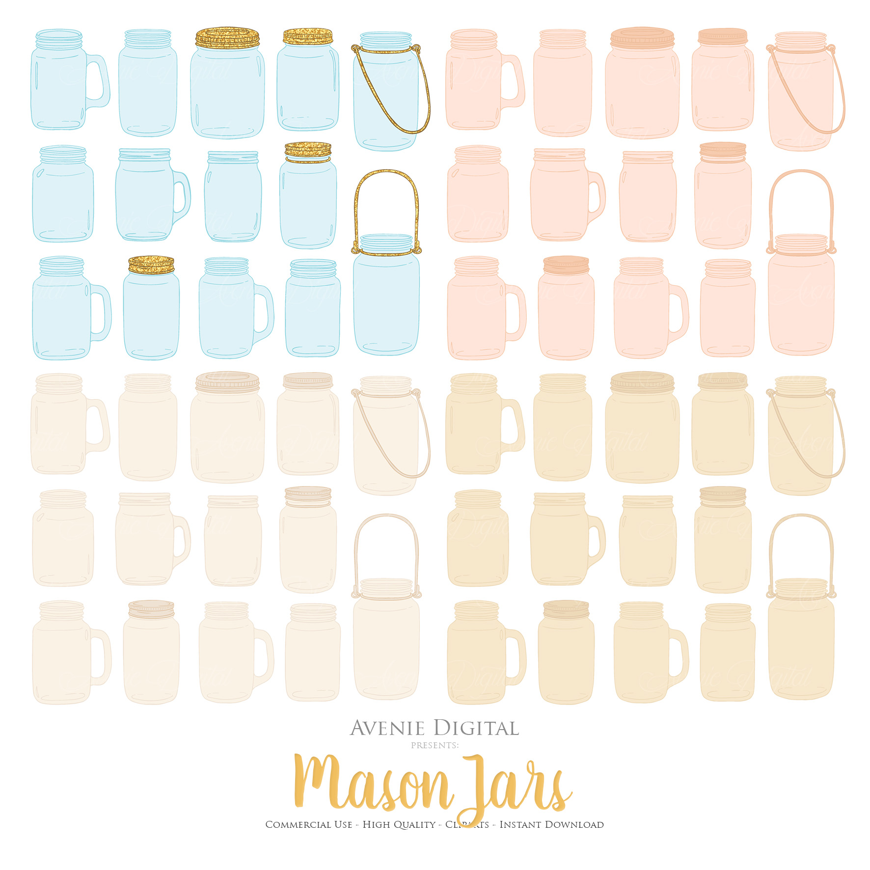 Ivory and Gold Mason Jar Floral Wedding Clipart example image 2