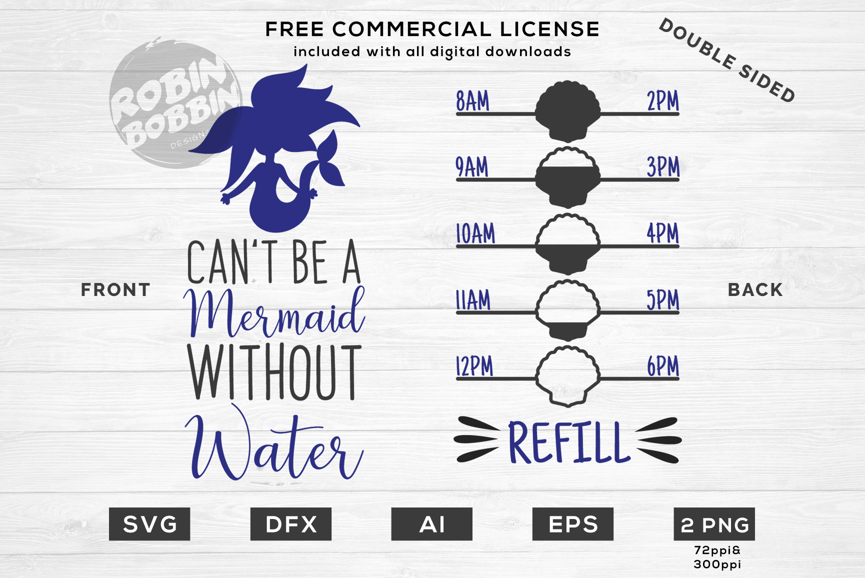 Can't Be Mermaid Without Water - Double Sided SVG Design example image 1