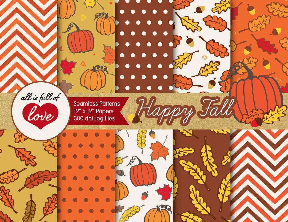 Autumn Digital Paper Fall Background Patterns With Acorns Leafs And Pumpkins 32386 Backgrounds Design Bundles