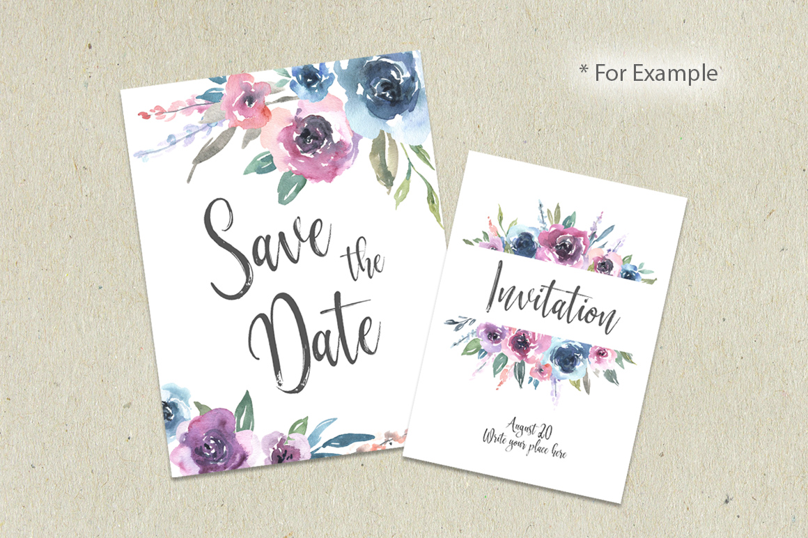Watercolor Pink Blue Flowers Bouquets Frames example image 5