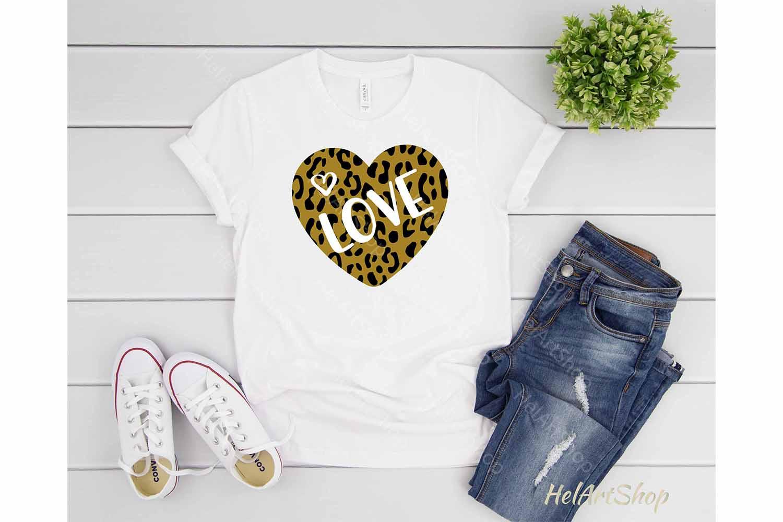 Leopard Print Heart svg, Valentine svg, Valentines day svg example image 2