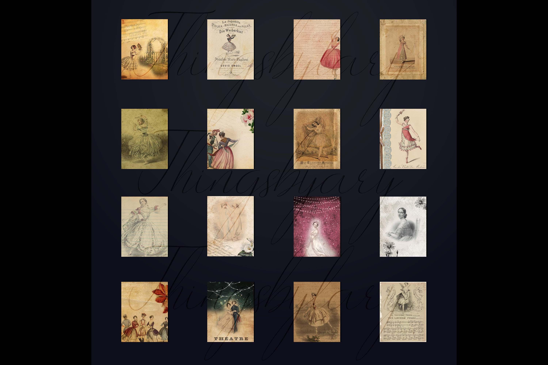 "16 Antique Ephemera Dancing Ballerina Digital Papers 8.5x11"" example image 10"