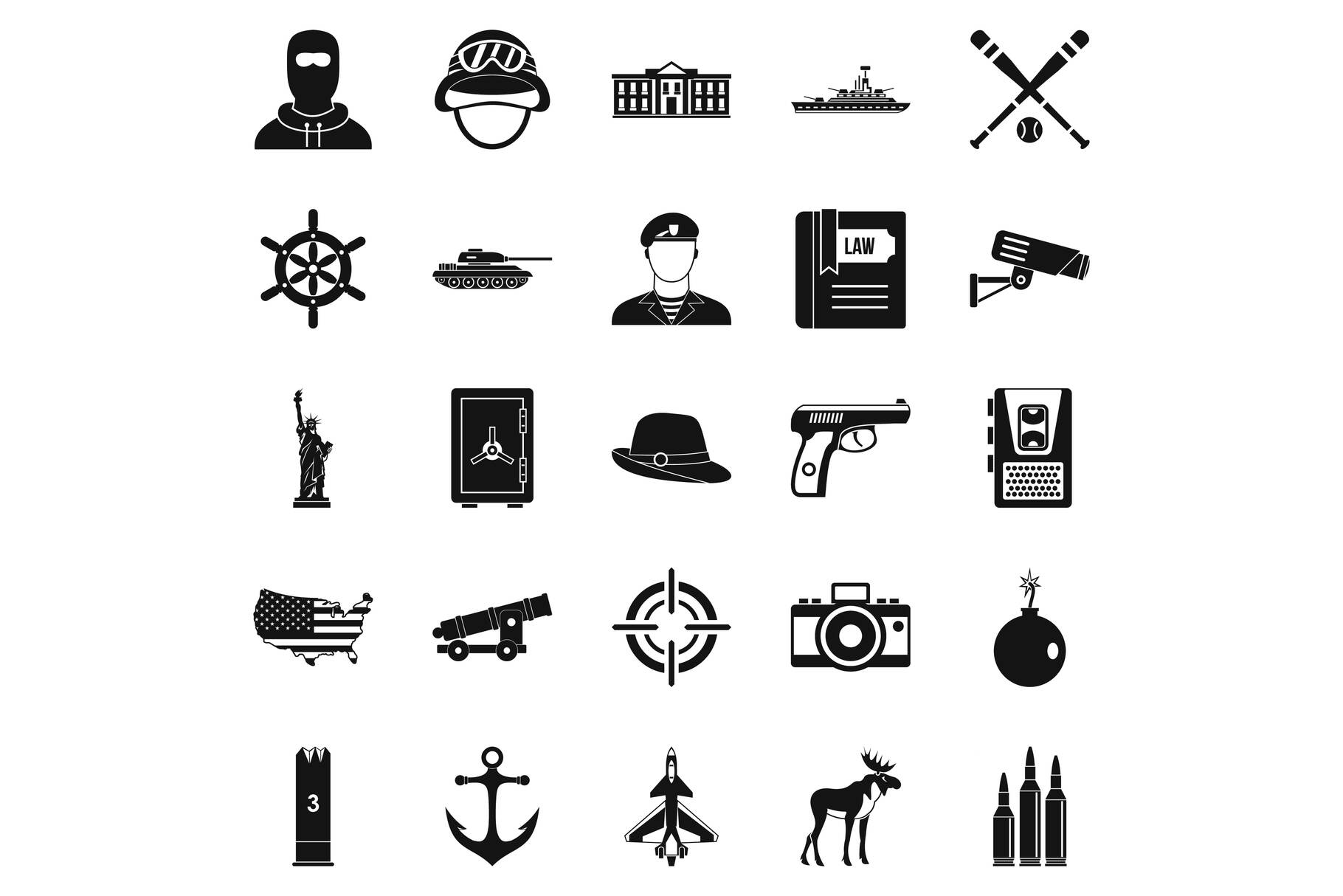 Bullet icons set, simple style example image 1