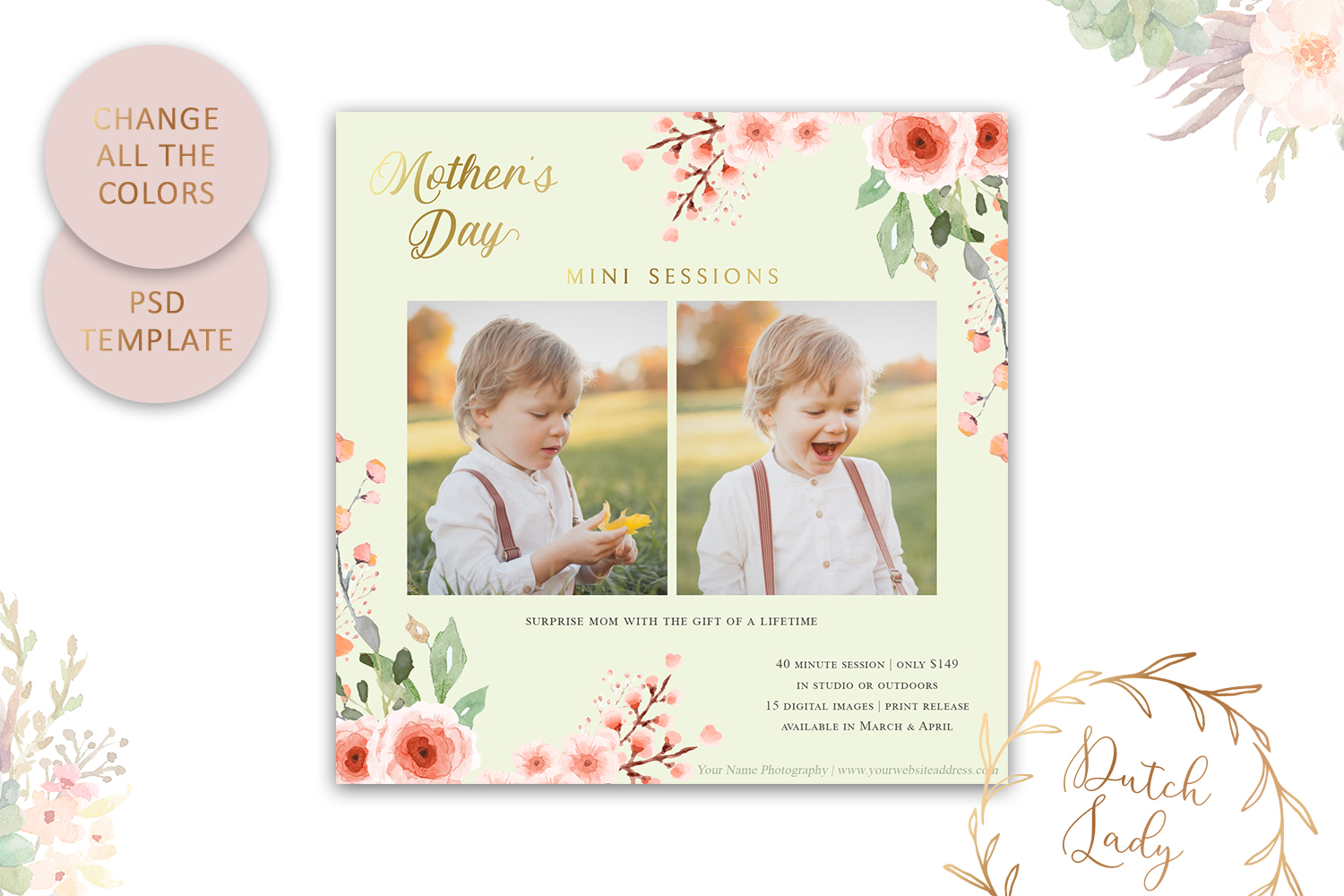 PSD Mother's Day Photo Session Card Template - Design #37 example image 4