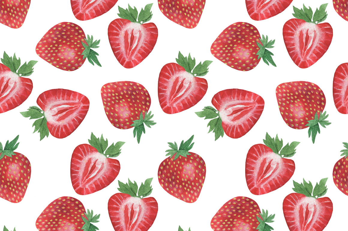 Set Strawberry Watercolor example image 6