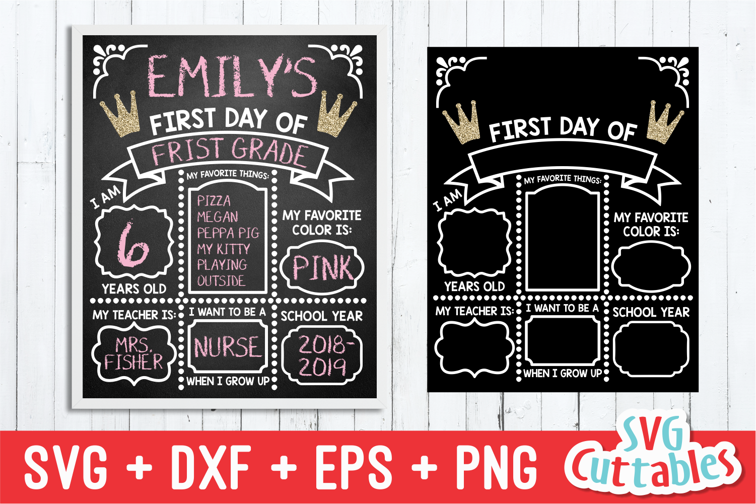 First Day of School Princess| SVG Cut File example image 1
