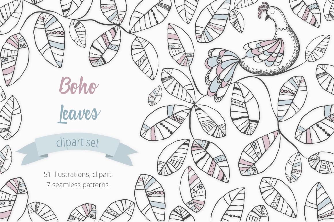 Boho Leaves Illustration Set example image 1