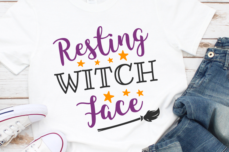 Resting Witch Face Svg, Witch Svg, Halloween Svg example image 1