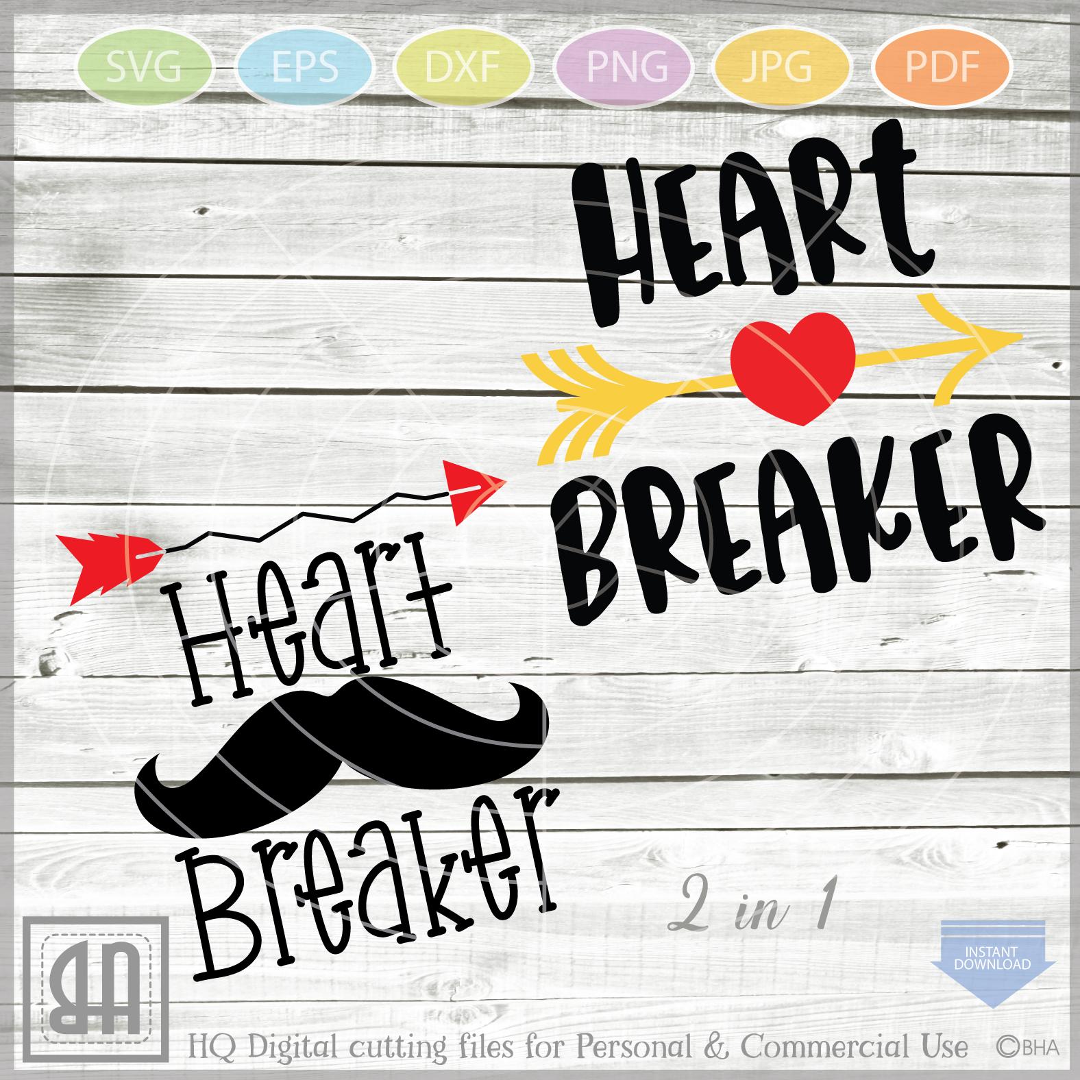 Heartbreaker Valentine Svg - 2 in 1 Boy Valentine svg - Baby example image 1
