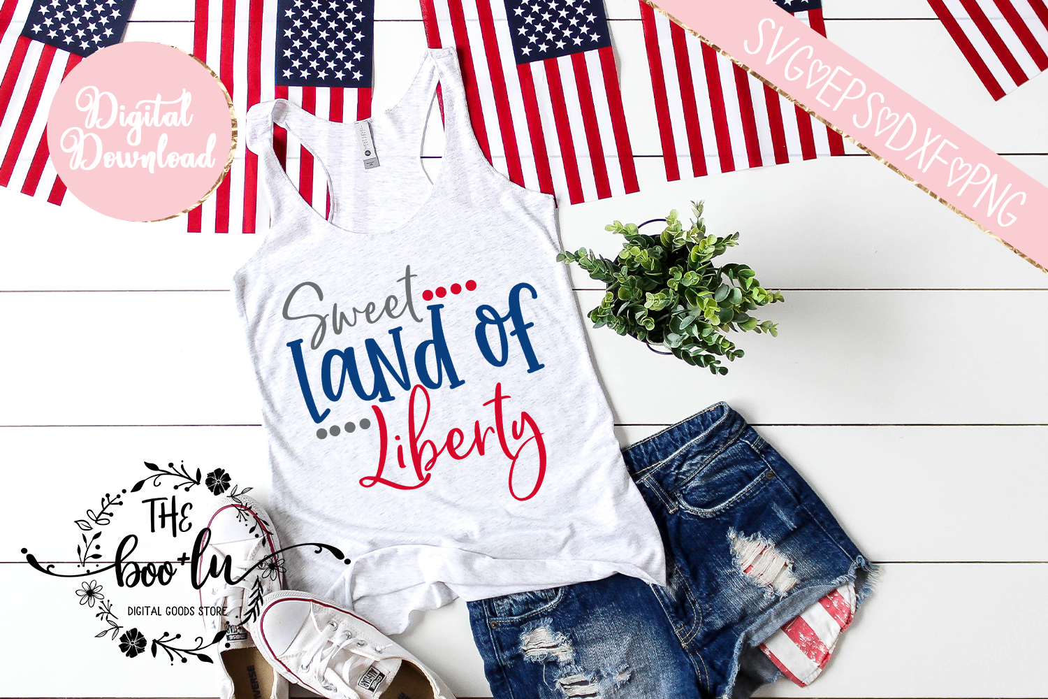 Sweet Land of Liberty 4th of July SVG EPS DXF PNG Patriotic example image 1