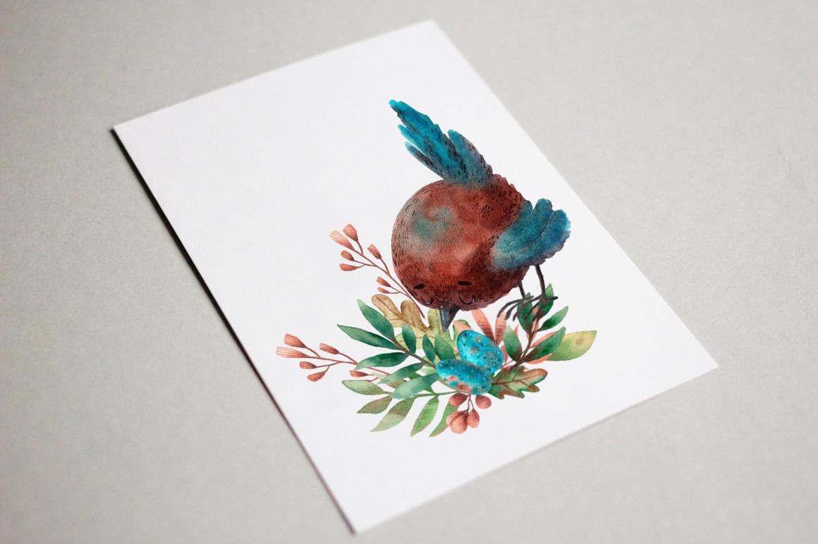 Tiny Birds - Watercolor Clip Art Set example image 12