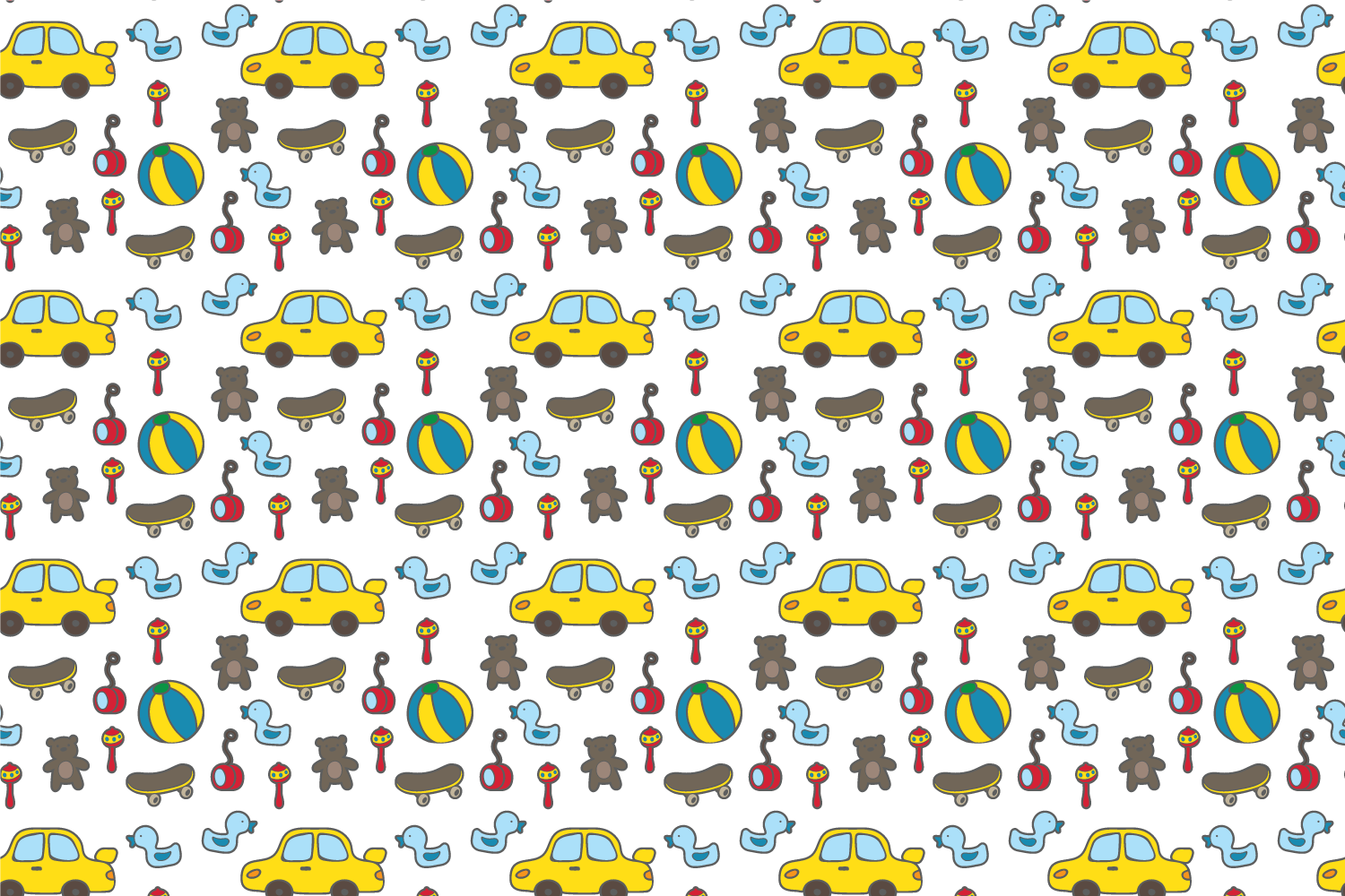Cute baby toys seamless pattern example image 3