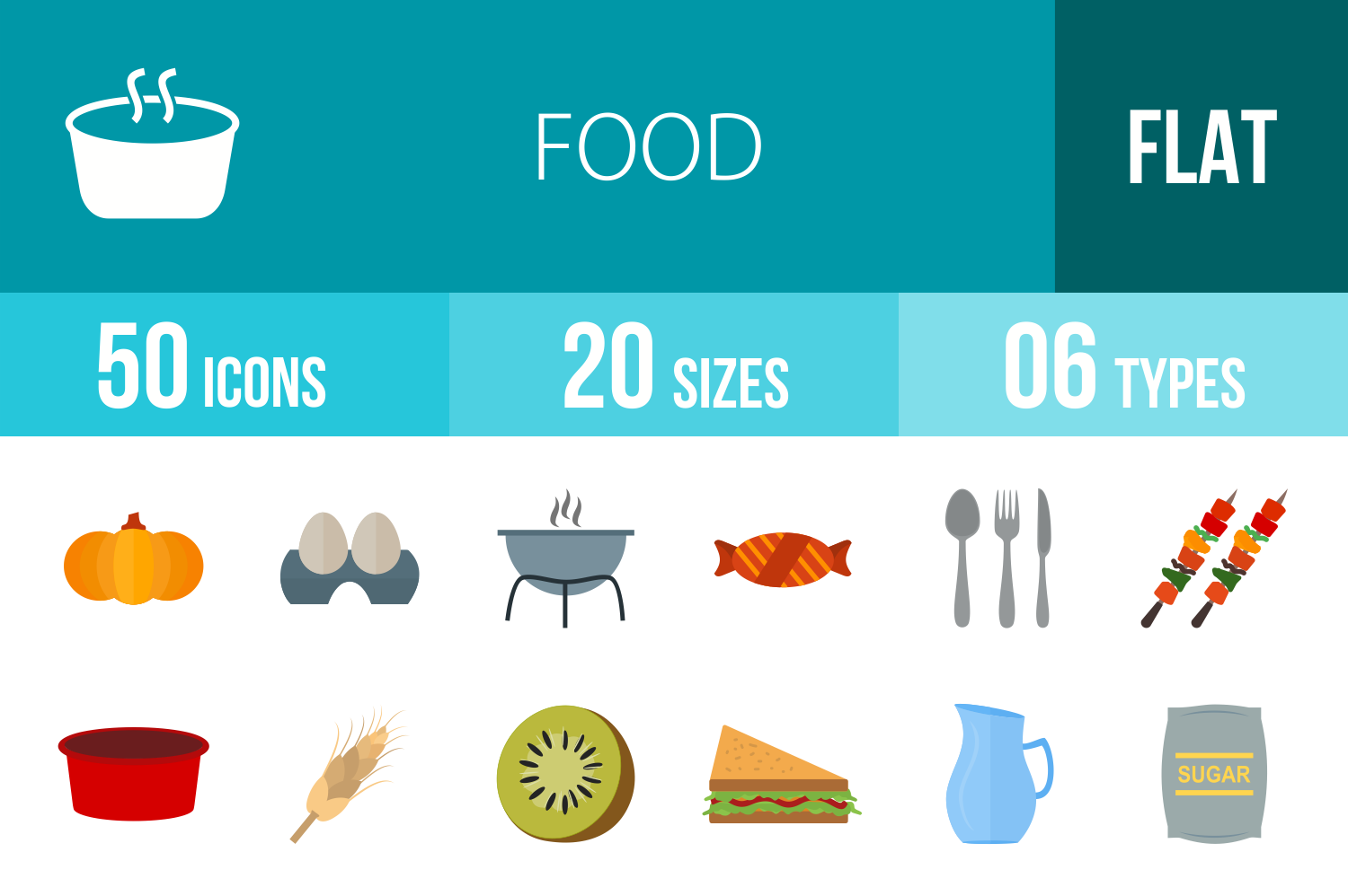 50 Food Flat Multicolor Icons example image 1