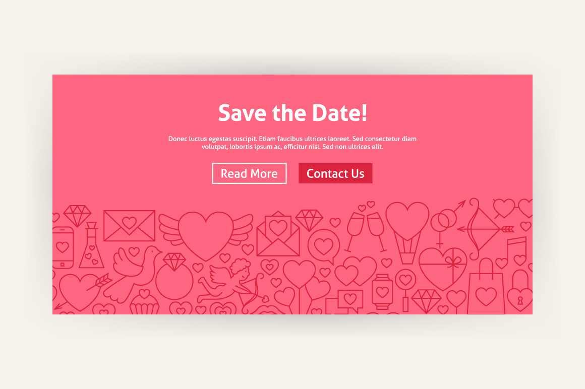 Valentine's Day Line Art Web Banners example image 2