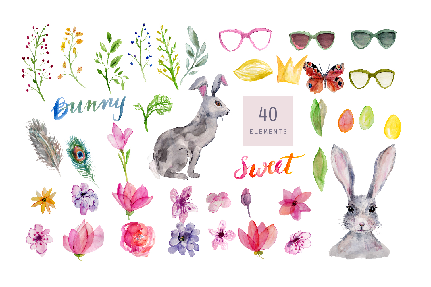 Bunny Watercolor Clipart, Handpainted, Boho, Nursery Bunnies example image 4
