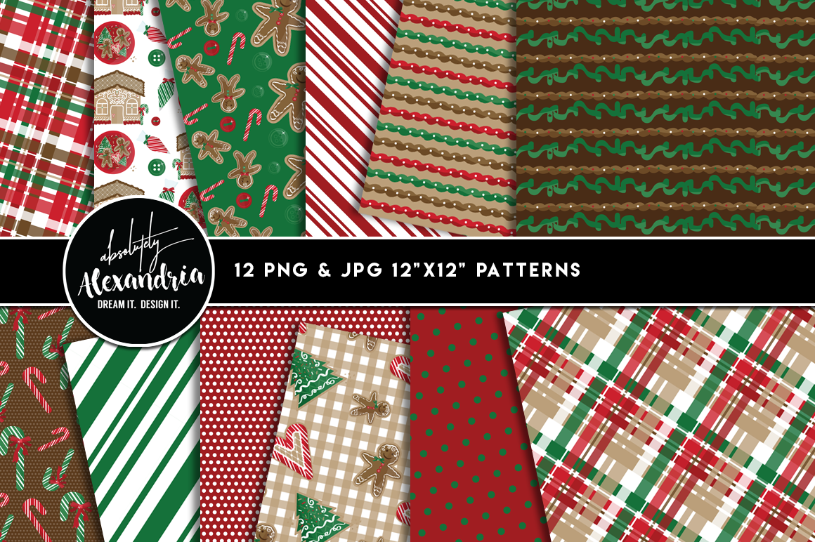 Christmas Cookies Clipart Graphics & Digital Paper Patterns Bundle example image 2