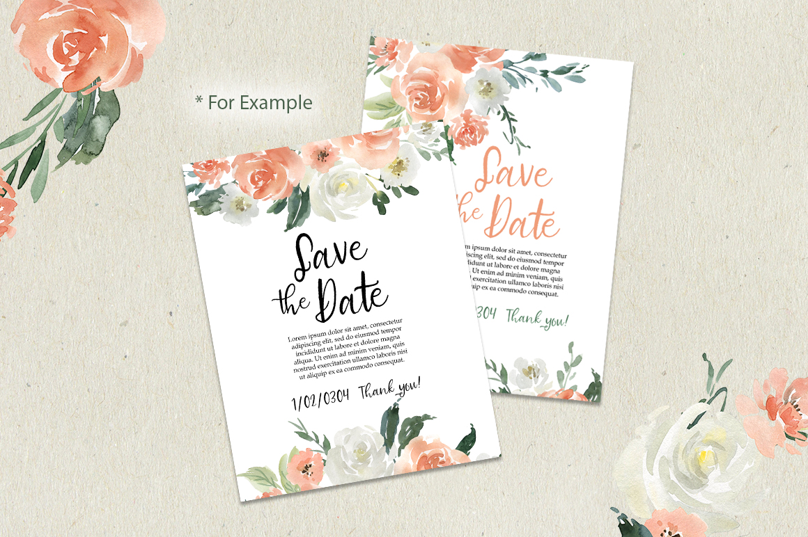 Pink Coral & White Watercolor Flowers PNG Clipart