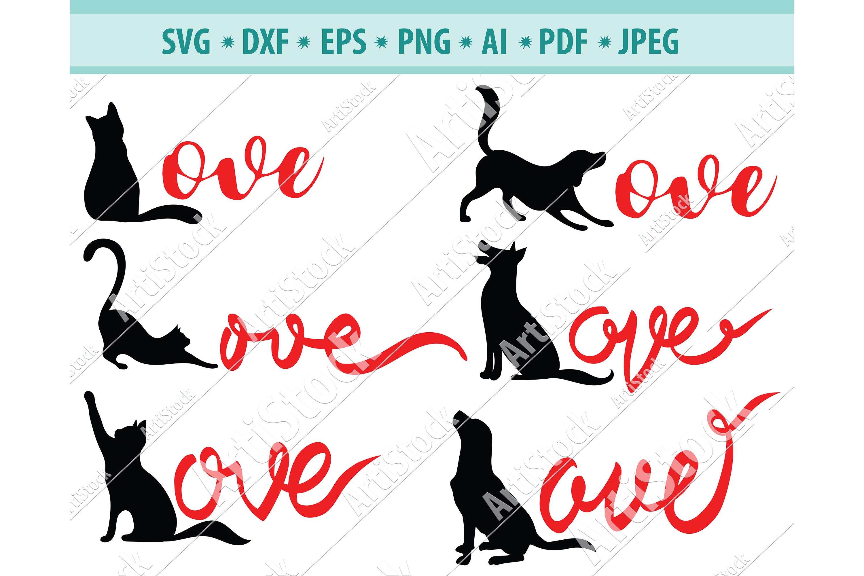 Download Cat Love Svg Dog Love Svg Love For Pets Svg Dxf Png Eps