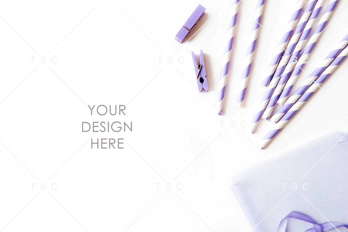 Lilac Clips and Paper Straw Stock Photo example image 1