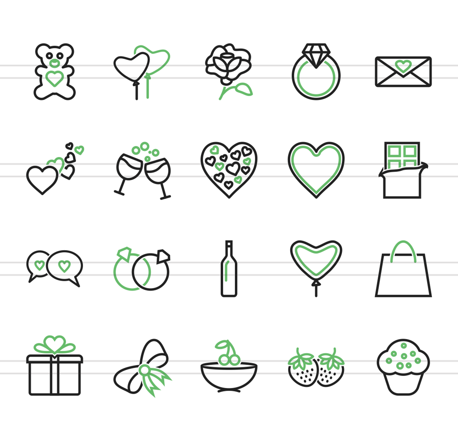 20 Valentine Line Green & Black Icons example image 2